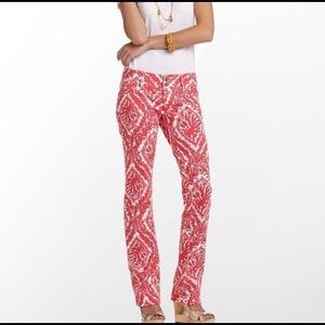 Lilly Pulitzer Island Pink Coral Reef Jeans O148
